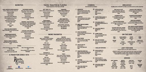 Rancho Grande Menu